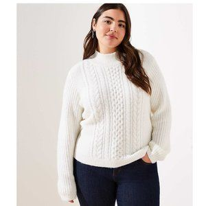 Long Sleeve Cropped Cable Turtleneck Sweater